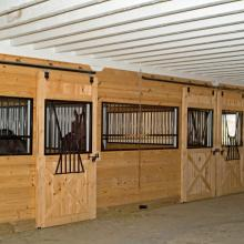 Horse stalls in horse barn