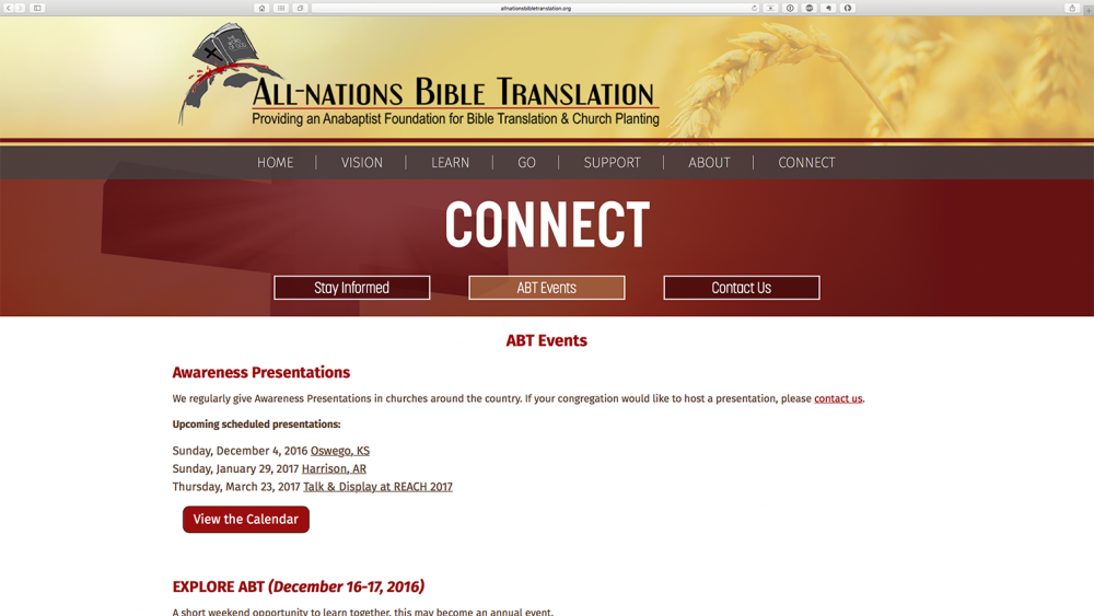 All Nations Bible Translation - connect page - desktop