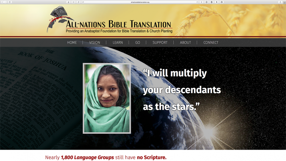 All Nations Bible Translation - home page - desktop