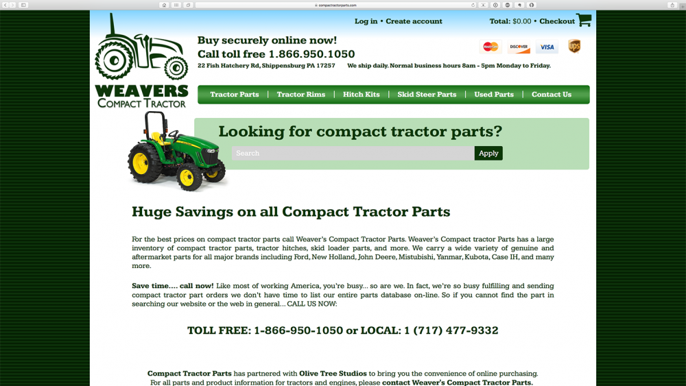 Compact Tractor Parts - Home page - desktop