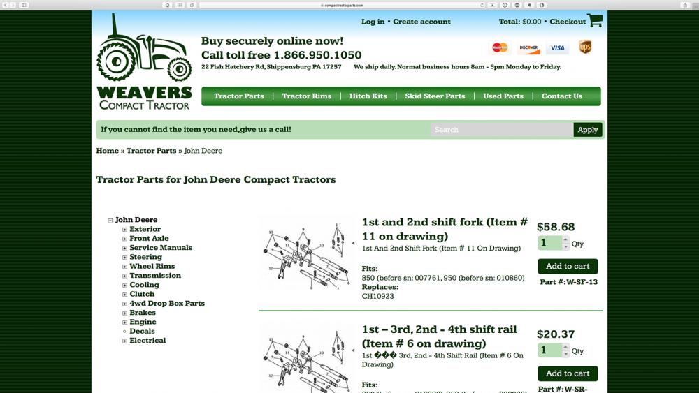 Compact Tractor Parts - John Deere page - desktop