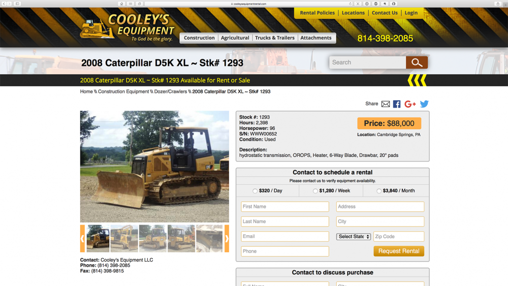 Cooleys Equipment - dozer page - desktop