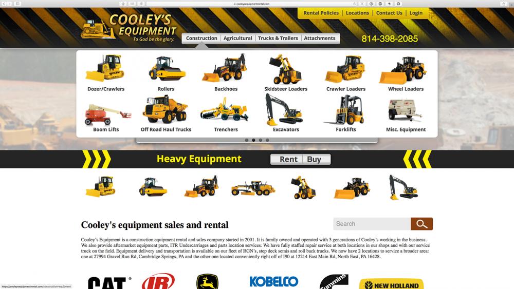 Cooleys Equipment - dropdown menu - desktop