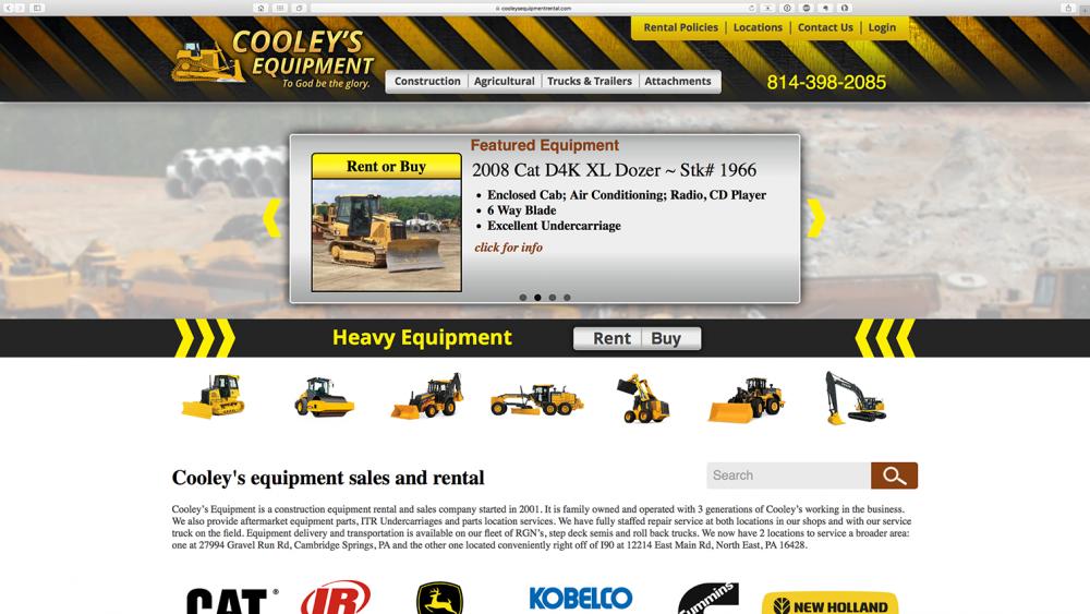 Cooleys Equipment - home page - desktop