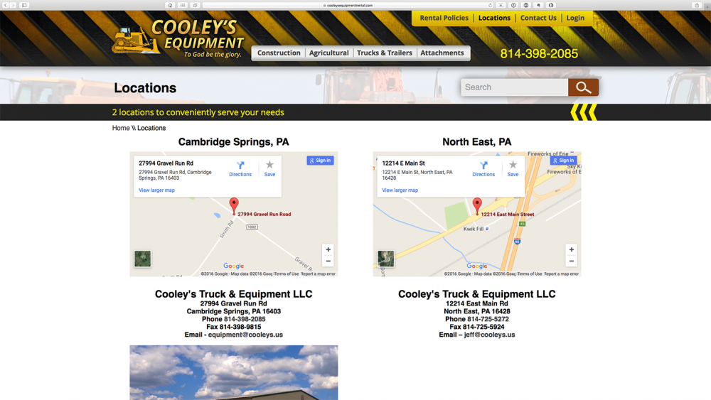 Cooleys Equipment - locations page - desktop