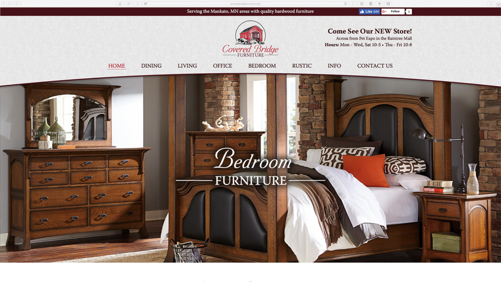 Covered Bridge Furniture - home page - desktop