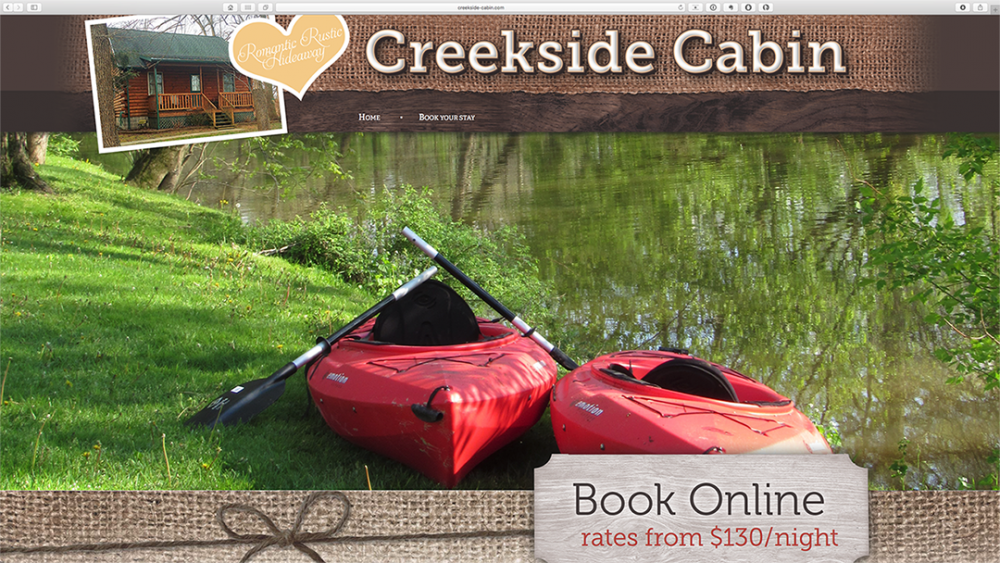 Creekside Cabin - home page - desktop