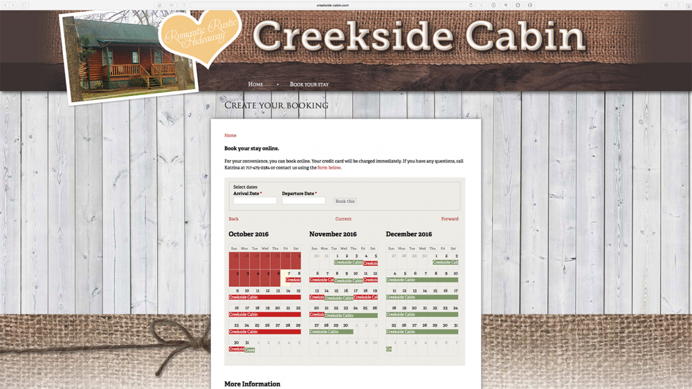 Creekside Cabin - register page - desktop