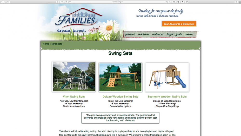 FAMILIES Catalog playset page - desktop