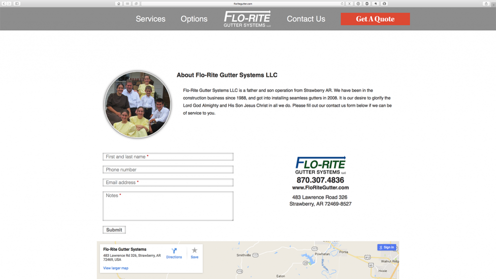 Flo-Rite Gutter contact us page - Desktop