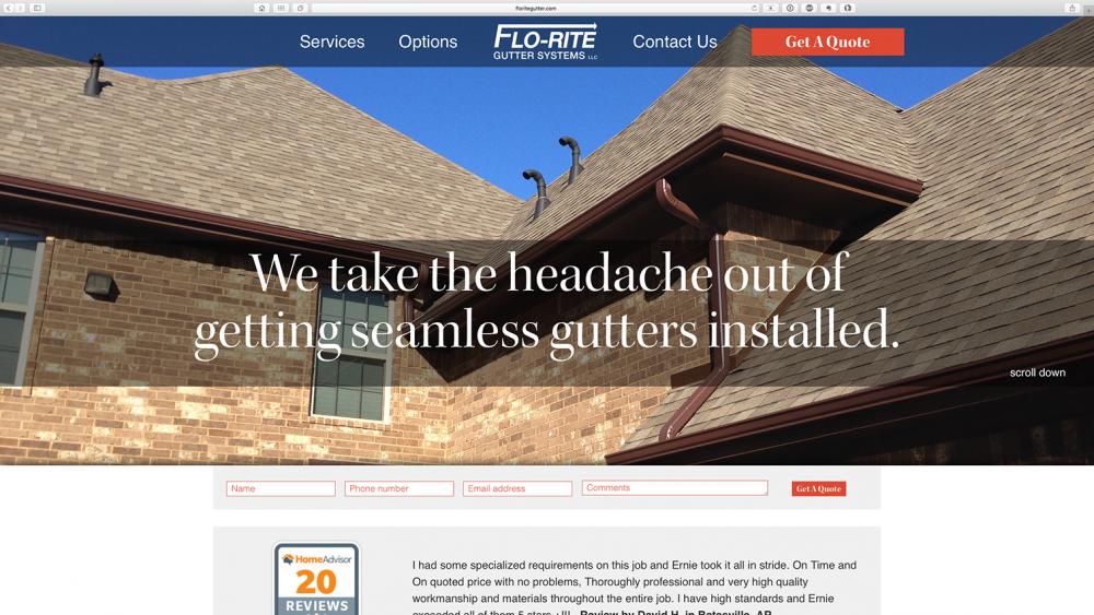 Flo-Rite Gutter Home page - Desktop