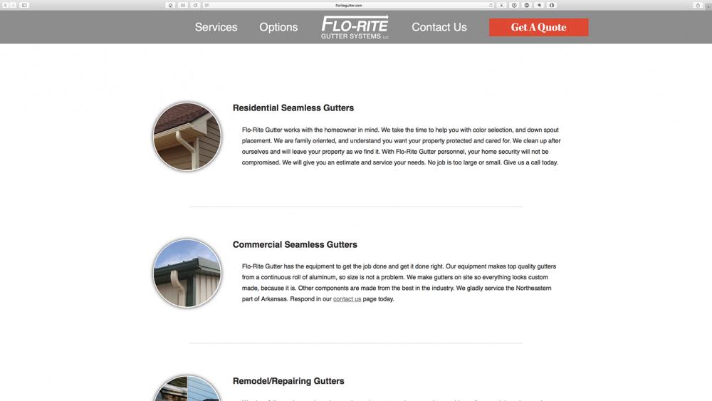 Flo-Rite Gutter services page - Desktop