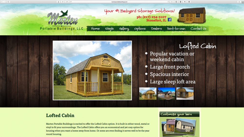 Marten Portable shed page on desktop