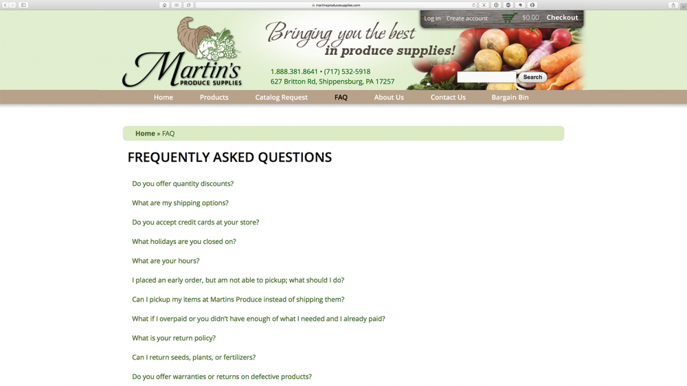 Martins Produce Supplies FAQ section