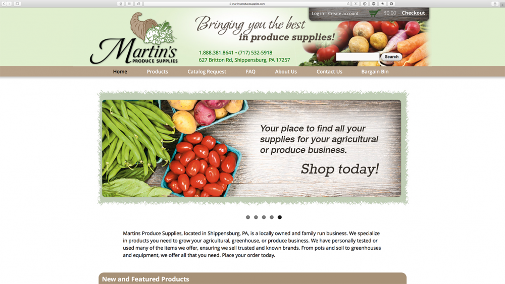 Martins Produce Supplies home page of website