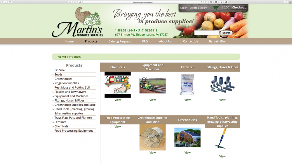 Martins Produce Supplies products page