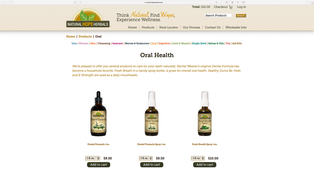 NHH - Products page on Desktop
