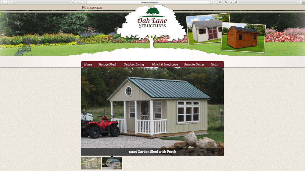Oak Lane Structures end shed page on desktop