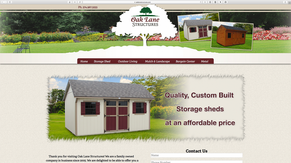 Oak Lane Structures home page on desktop