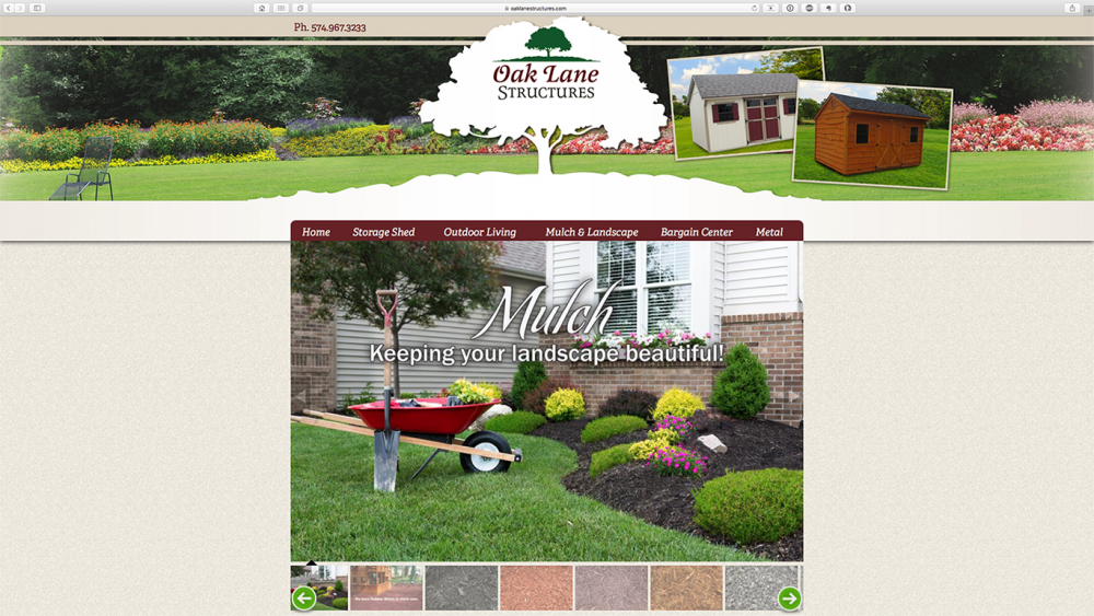Oak Lane Structures mulch page on desktop