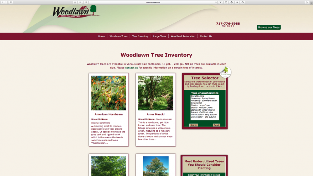 Woodlawn Trees website inventory page on desktop