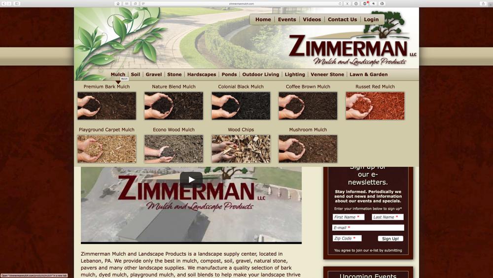 Zimmerman Mulch Products dropdown image menu - desktop