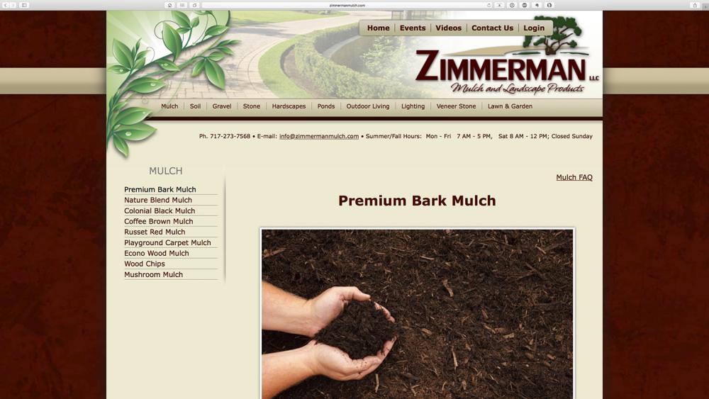 Zimmerman Mulch Products mulch page - desktop