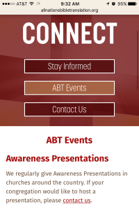 All Nations Bible Translation - connect page - Mobile
