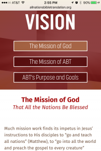 All Nations Bible Translation - vision page - Mobile