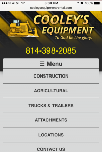 Cooleys Equipment - dropdown menu - mobile