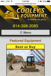 Cooleys Equipment - home page - mobile