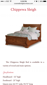 Covered Bridge Furniture - end bed page - mobile