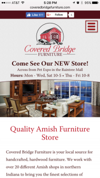 Covered Bridge Furniture - home page - mobile