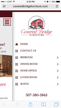 Covered Bridge Furniture - side menu - mobile