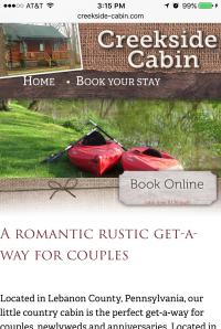 Creekside Cabin - home page - mobile
