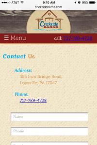 Crickside Barns - contact page - mobile