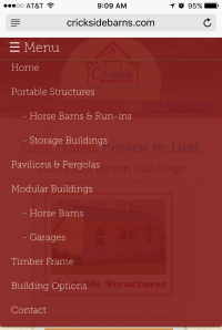 Crickside Barns - dropdown menu - mobile