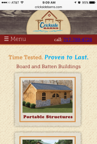 Crickside Barns - home page - mobile