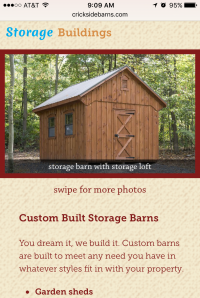 Crickside Barns - shed page - mobile