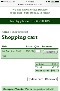 Compact Tractor Parts - shopping cart page - mobile