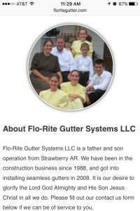Flo-Rite Gutter contact us page - mobile