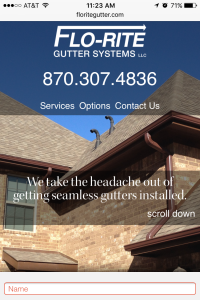 Flo-Rite Gutter Home page - mobile