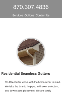 Flo-Rite Gutter services page - mobile