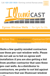 Illumicast installation page on mobile