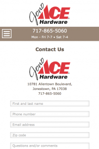 Jono Hardware - contact us page - mobile
