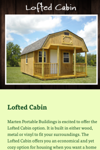 Marten Portable shed page on mobile