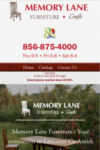 Memory Lane Furniture home page on mobile