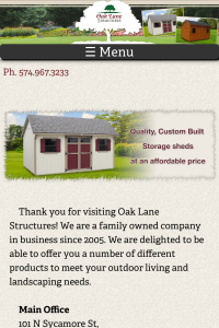 Oak Lane Structures home page on mobile