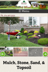 Oak Lane Structures mulch page on mobile