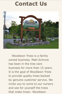 Woodlawn Trees website contact us page on mobile